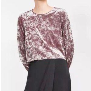 Zara crushed velvet crop top